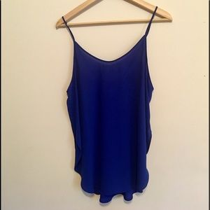 Blue tank with adjustable straps and side slits